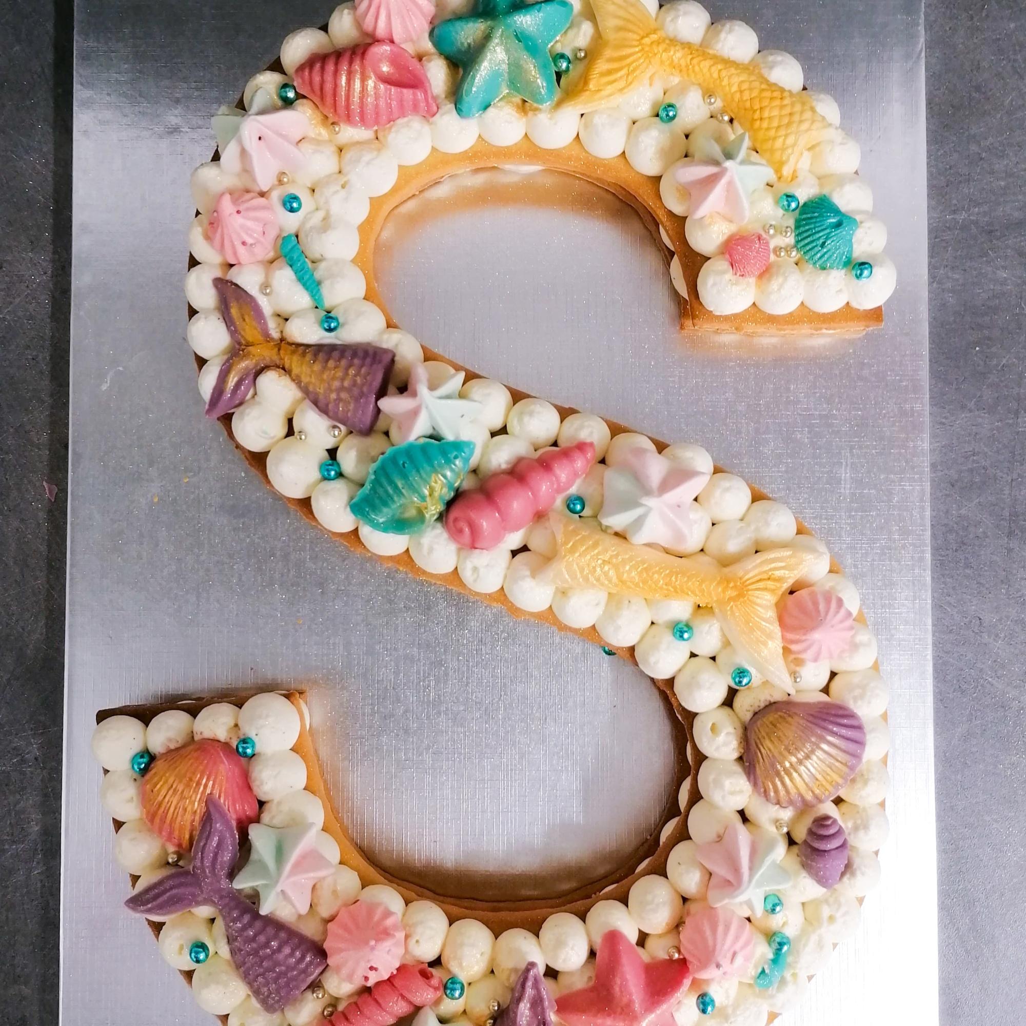 Lettercake S thème sirène Jungle Thé pâtisserie Castres