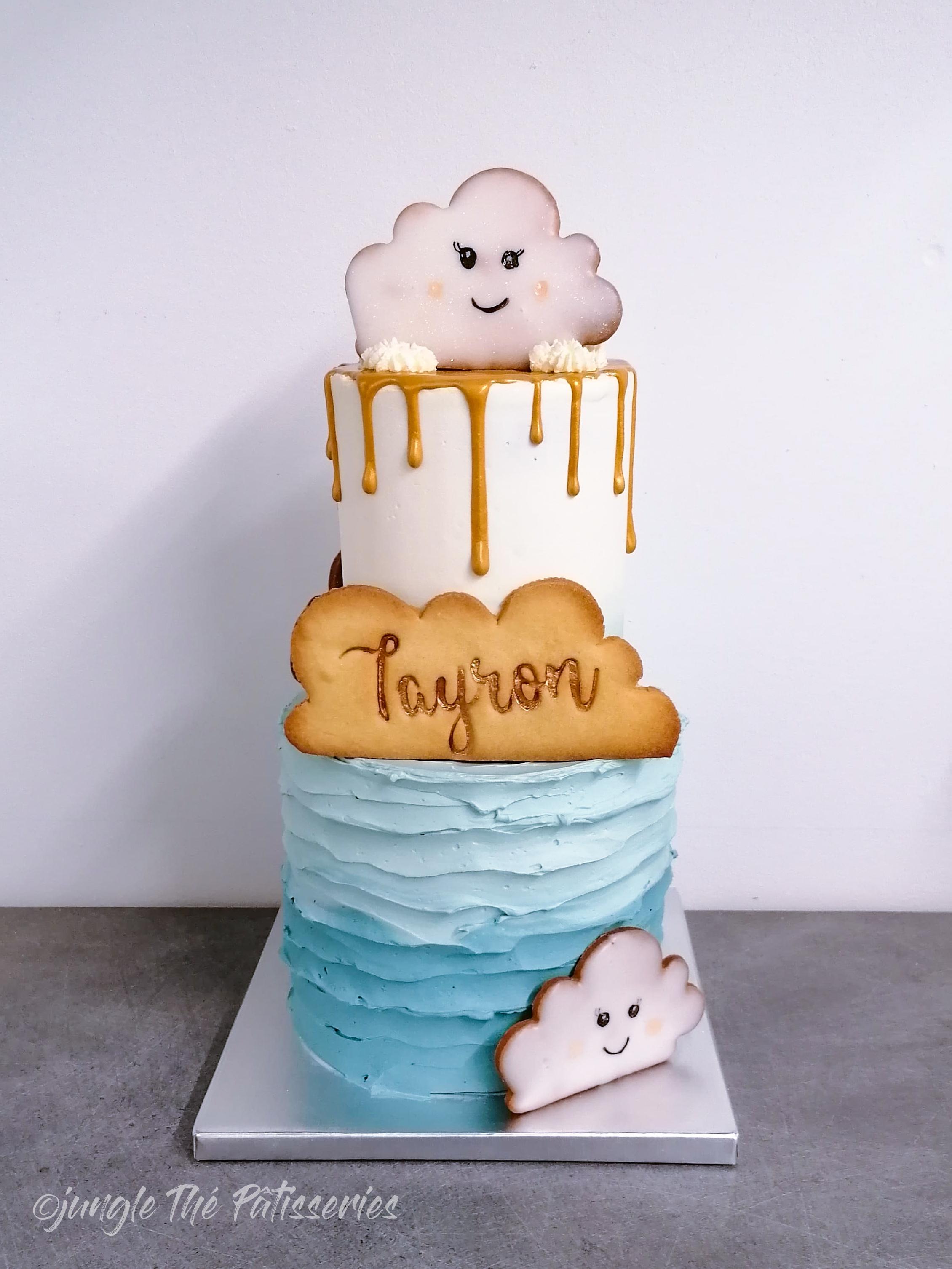 Layer cake 2 étage effet spatule et nuage coulure dorée Jungle Thé pâtisserie Castres